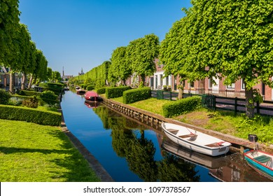 View on the village of IJlst, Friesland, Netherlands on spring day