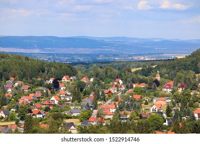 View on the village Jonsdorf in the upper lusatia, saxony