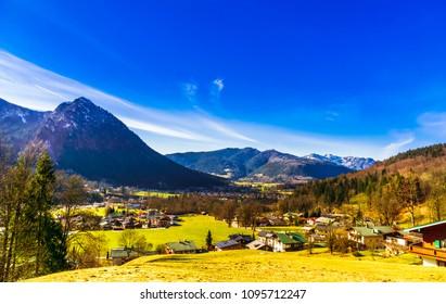 View on village Schoenau by Koenigsee in the Bavarian Alps - Germany