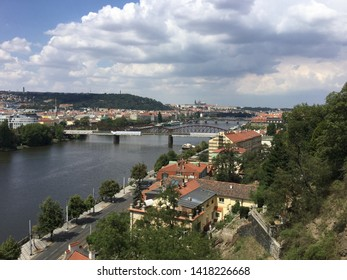 View on Vltava river and the city from the Vysehrad hill. Prague, Czech Republic