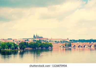View on Vltava river and St.Vitus cathedral in Prague Castle, Czech Republic