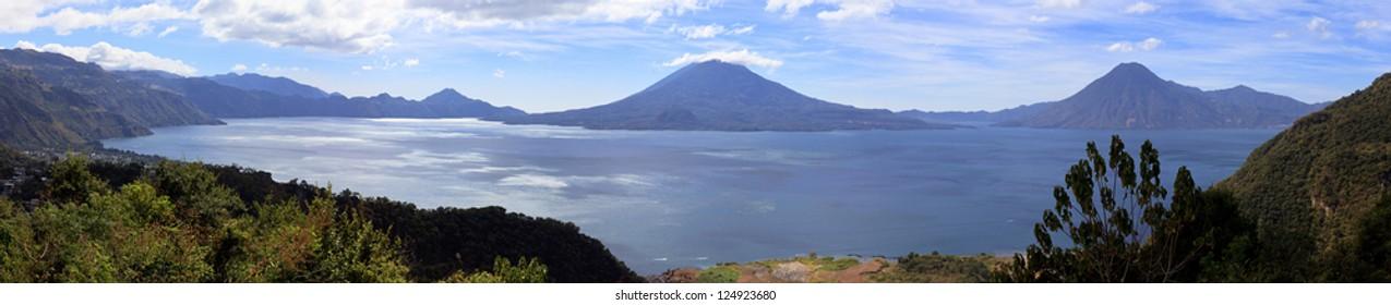 View on Volcanoes and Lake Atitlan, Guatemala