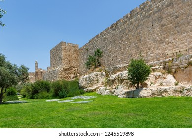View on Walls of the old city of Jerusalem and King David tower at far