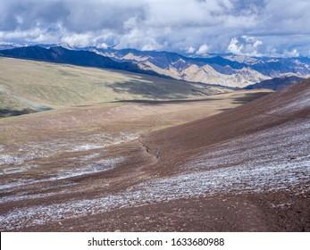 View on the way up to Kongmaru La on the Markha Valley trek, Ladakh, North India