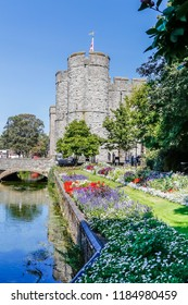 View on the Westgate towers from the wWetsgate gardens park in Canterbury on a sunny day, England, UK