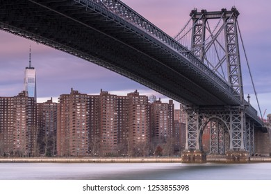 View on Williamsburg bridge  from east river at sunrise