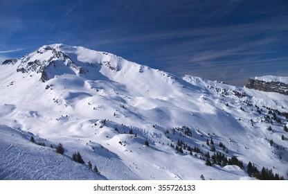 View on winter mountains of Alpine ski resort Avoriaz, France. Taken in March 2015.