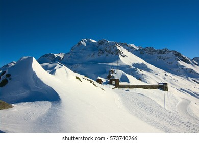view on winter mountains and ski slopes, French Alps