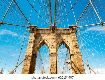 View on the wire suspension of Brooklyn Bridge in New York