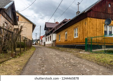 the view on the wooden buildings of very old village - Mrzyglod in Poland