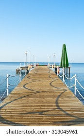View on wooden jetty at a sea in Belek, Tyrkey