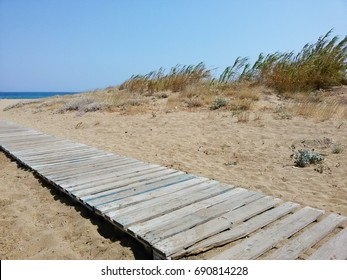 View on a Wooden Walkway in the Sand Dunes