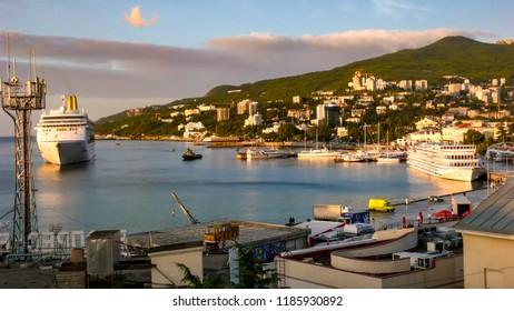 View on the Yalta sea port. Yalta, Ukraine. 17-09-2007