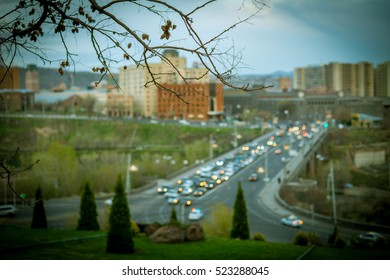 View on Yerevan city from Ararat Museum, Out of focus, Armenia