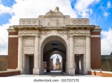 View on Ypres Menin main gate - Belgium