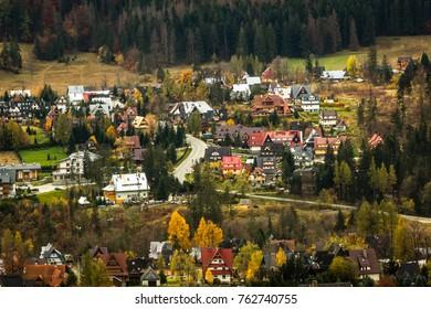 View on the  Zakopane city from Koscielisko, Poland