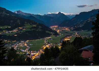 View on Zell am Ziller city and alps at night from Zellberg