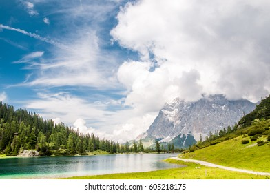 view on Zugspitze mountain from Seeben lake