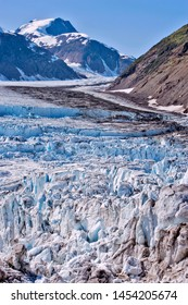 View of one arm of the Salmon Glacier, fifth largest non-polar Glacier in the world, showing Ice break up iduring summer,  British Columbia, Canada,