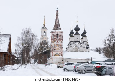 View of one of the central streets of Suzdal in winter, Russia