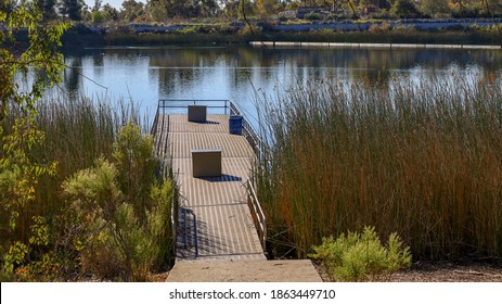 View of one of the fishing floats at Lake Miramar in San Diego, Ca.
