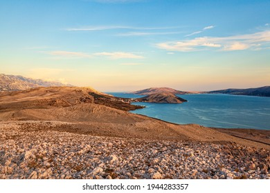 View of one of the hidden beaches of the island of Pag and Velebit, Pag, Croatia.