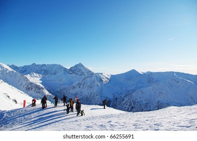 View from one of the highest Polish mountain peaks Kasprowy Wierch in sunny winter