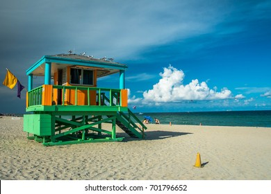 View of one of the lifeguard towers in South Beach, Miami, Florida.