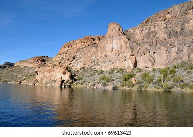 View of one of many rock formations around Canyon Lake, part of Tonto National Forest in Arizona