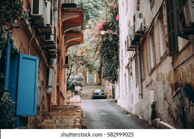 View of one of the streets in Gemmayze district of Beirut, Lebanon.