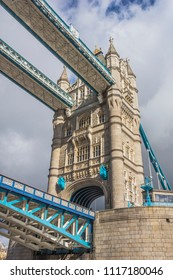 View of View of one of the towers of the famous landmark the London Bridge, England