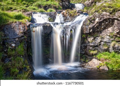 View of one of the waterfalls at Fairy Pools in Glen Brittle, Isle of Skye, Scotland