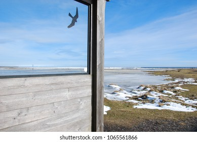 View from one of the wind shelters at the birdwatching site by Ottenby on the island Oland in Sweden
