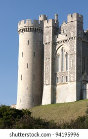 A view of one of the wings of Arundel castle in west sussex showing the stone and flint work.