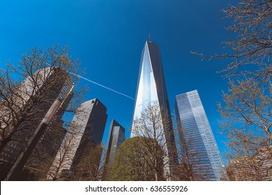 View of one world trade centre or Freedom tower skyscraper, New York City