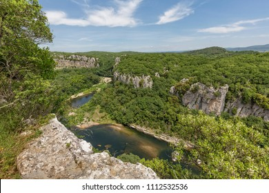 View onto the Chassezac river in the Ardeche district in France