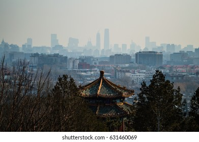 View onto Juxtaposition of Temples and Modern Buildings seen from Jingshan Park Hill, Beijing, China