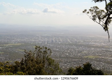 View onto Rockhampton as seen from Fraser Park Lookout on Mount Archer (Queensland, Australia)