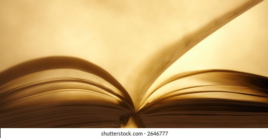 view of open book with dust cloud