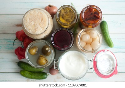 View of open jars with naturally fermented ingredients