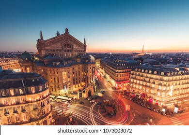 View of Opera Garnier at sunset, Paris, France