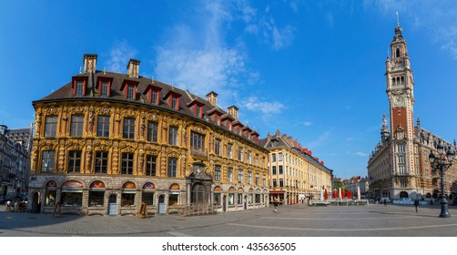 View of Opera house and chamber of commerce in Lille France