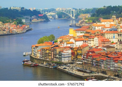 View from Oporto old city by douro river