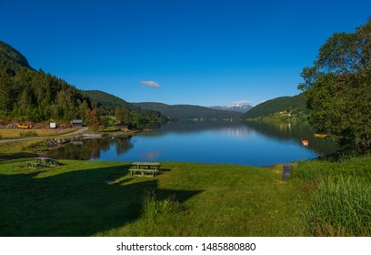 View of Oppheimsvatnet lake, Voss, Norway. July 2019