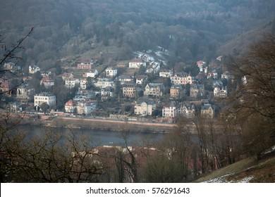 View at the opposite neckar waterside at Heidelberg, Germany