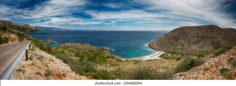 View of Oprna Bay beach, Stara Baska, from the road, Krk Island, Croatia, super wide high resolution extra large panoramic image