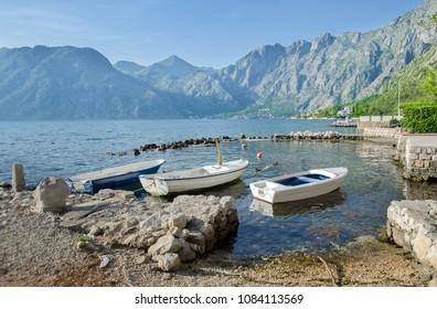 View of Orahovac village from Dubrota on Kotor Bay, Boka Kotorska, Montenegro, Europe.