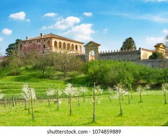 View from the orchard of Villa dei Vescovi to renaissance-style, Torreglia, province of Padua, region of Veneto, Italy.