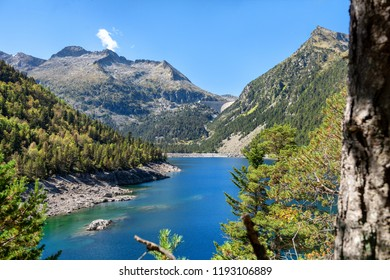 a view of Oredon lake in Hautes Pyrenees, france