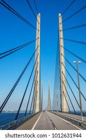View of Oresund Bridge between Denmark and Sweden, Scandinavia, Europe